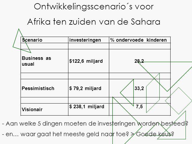 - Aan welke 5 dingen moeten de investeringen worden besteed? - en… waar gaat het meeste geld naar toe? > Goede keus? Ontwikkelingsscenario´s voor Afri