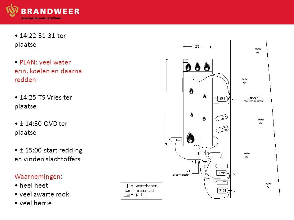 • 14:22 31-31 ter plaatse • PLAN: veel water erin, koelen en daarna redden • 14:25 TS Vries ter plaatse • ± 14:30 OVD ter plaatse • ± 15:00 start redd