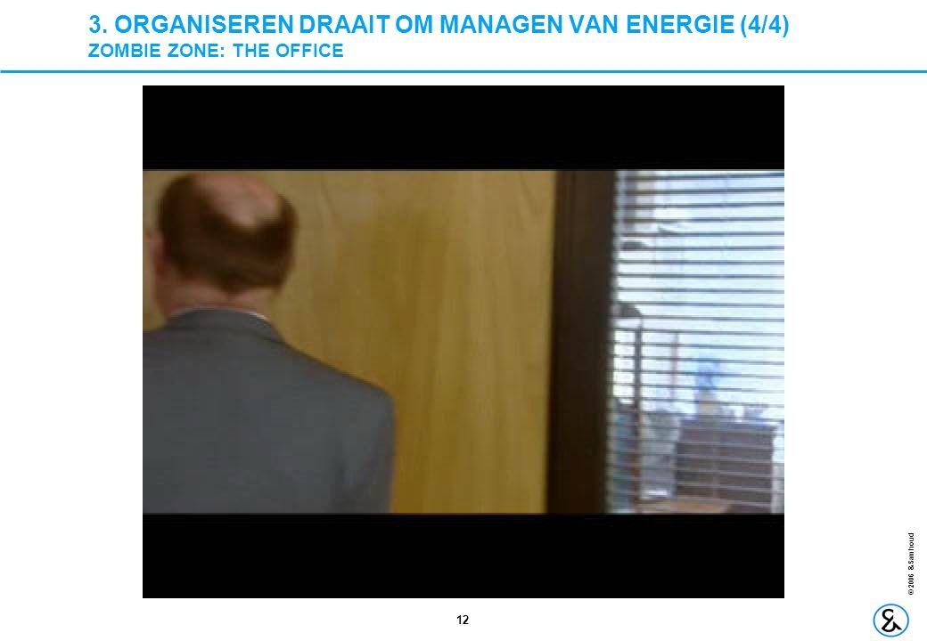 12 © 2006 &Samhoud 3. ORGANISEREN DRAAIT OM MANAGEN VAN ENERGIE (4/4) ZOMBIE ZONE: THE OFFICE