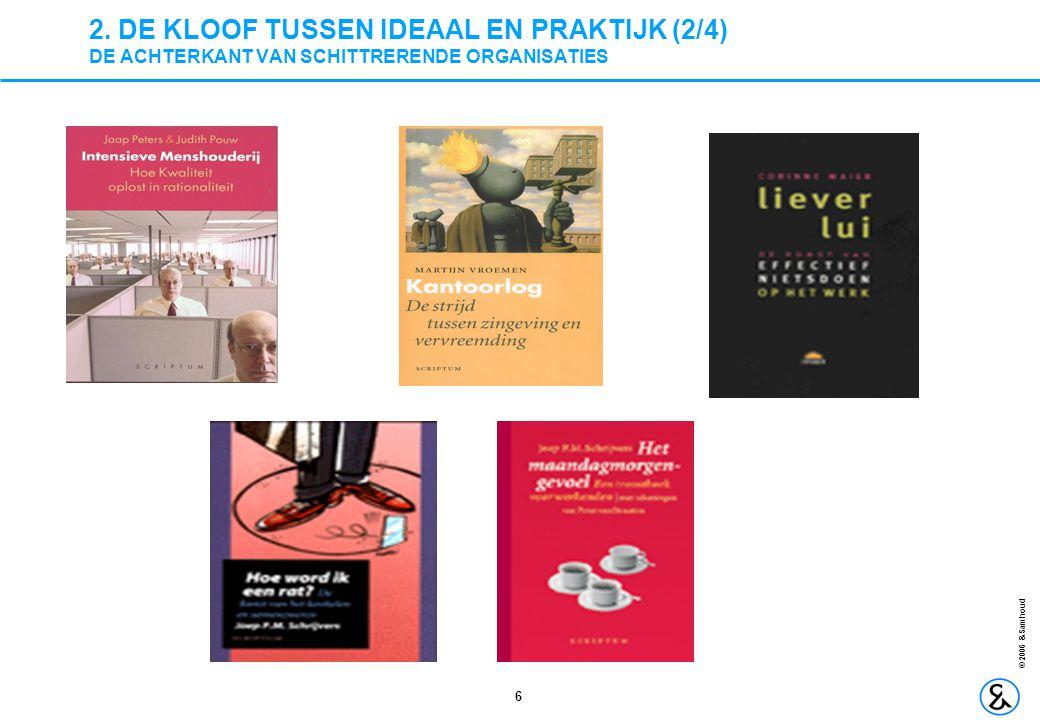 6 © 2006 &Samhoud 2. DE KLOOF TUSSEN IDEAAL EN PRAKTIJK (2/4) DE ACHTERKANT VAN SCHITTRERENDE ORGANISATIES