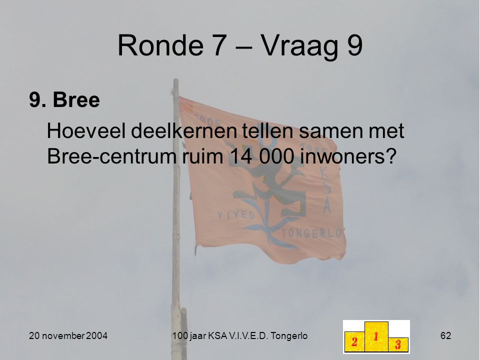 20 november 2004100 jaar KSA V.I.V.E.D. Tongerlo62 Ronde 7 – Vraag 9 9. Bree Hoeveel deelkernen tellen samen met Bree-centrum ruim 14 000 inwoners?