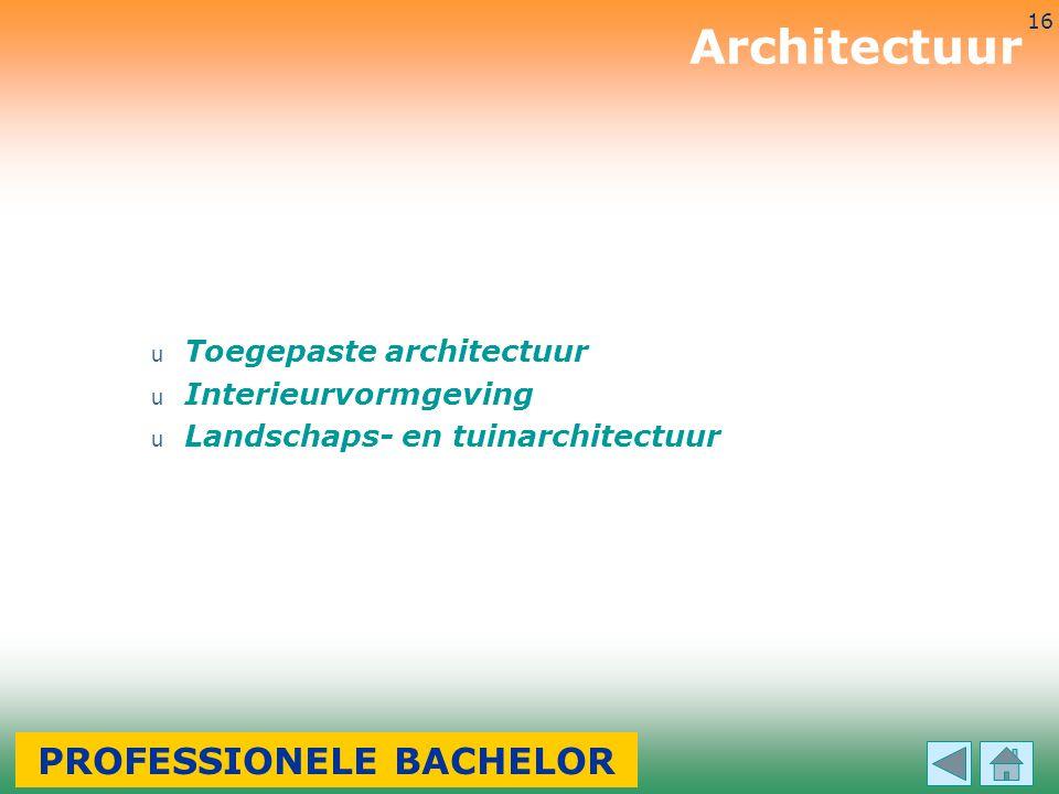 3-7-2014 16 u Toegepaste architectuur u Interieurvormgeving u Landschaps- en tuinarchitectuur Architectuur PROFESSIONELE BACHELOR