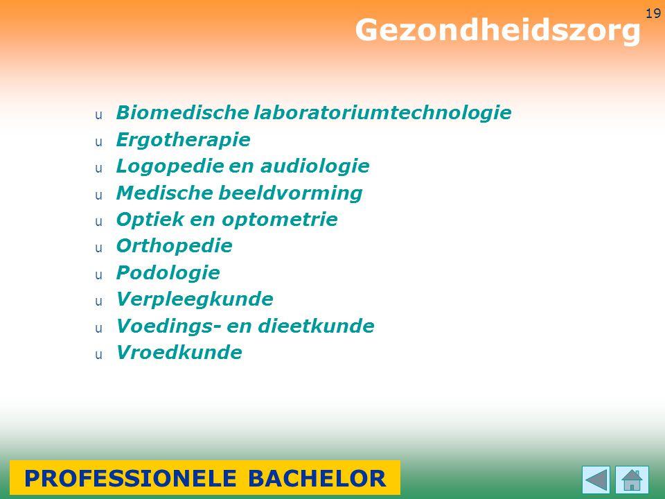 3-7-2014 19 u Biomedische laboratoriumtechnologie u Ergotherapie u Logopedie en audiologie u Medische beeldvorming u Optiek en optometrie u Orthopedie