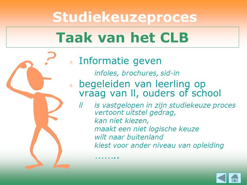 n Informatie geven infoles, brochures, sid-in n begeleiden van leerling op vraag van ll, ouders of school ll is vastgelopen in zijn studiekeuze proces