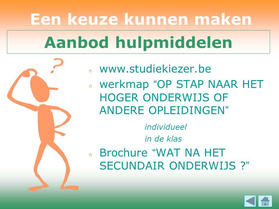 """n www.studiekiezer.be  werkmap """" OP STAP NAAR HET HOGER ONDERWIJS OF ANDERE OPLEIDINGEN """" individueel in de klas  Brochure """" WAT NA HET SECUNDAIR ON"""
