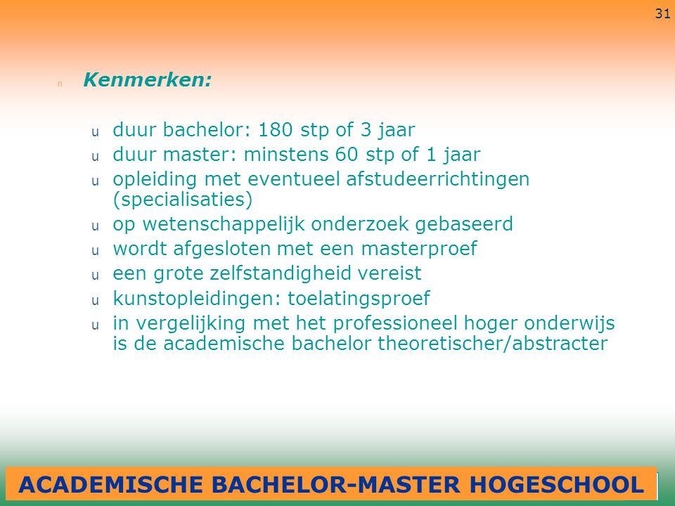 3-7-2014 31 n Kenmerken: u duur bachelor: 180 stp of 3 jaar u duur master: minstens 60 stp of 1 jaar u opleiding met eventueel afstudeerrichtingen (sp