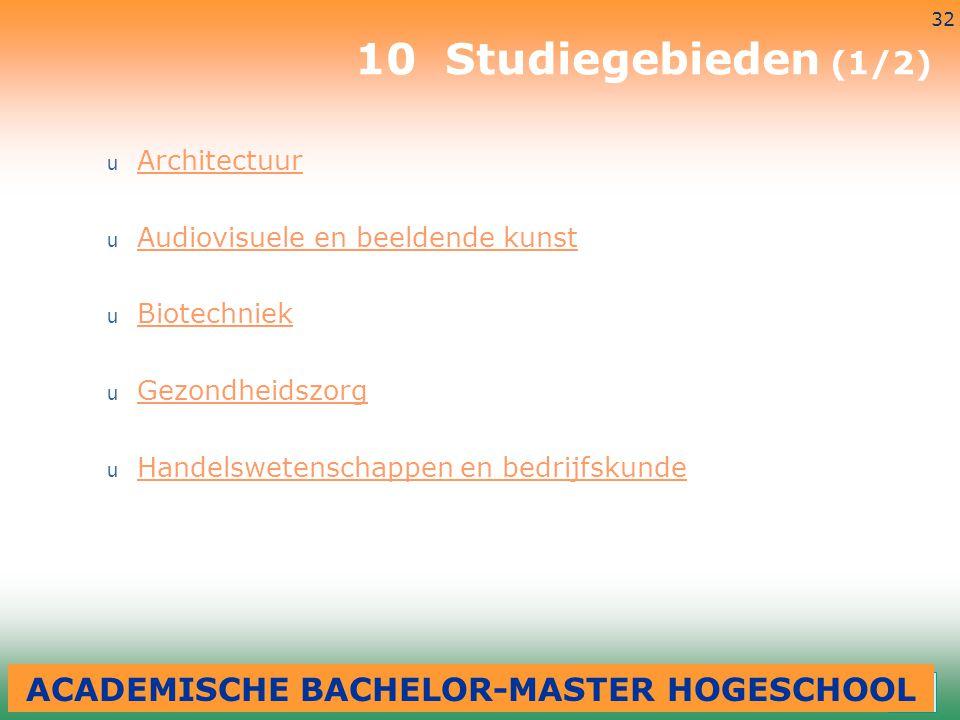 3-7-2014 32 10 Studiegebieden (1/2) u Architectuur Architectuur u Audiovisuele en beeldende kunst Audiovisuele en beeldende kunst u Biotechniek Biotec