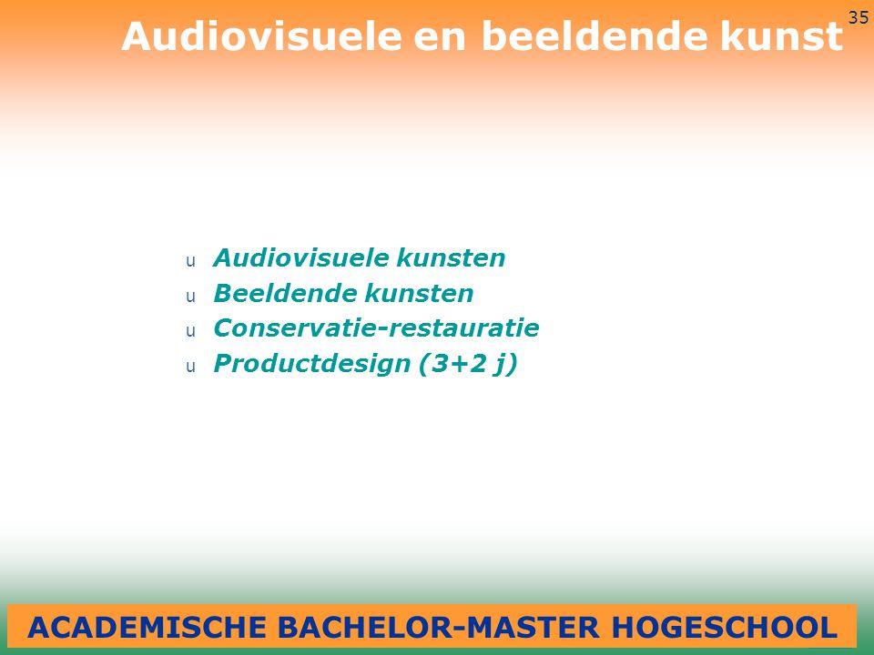3-7-2014 35 u Audiovisuele kunsten u Beeldende kunsten u Conservatie-restauratie u Productdesign (3+2 j) Audiovisuele en beeldende kunst ACADEMISCHE B