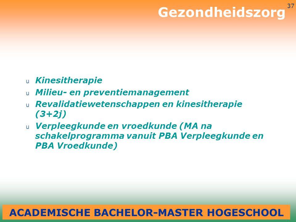 3-7-2014 37 u Kinesitherapie u Milieu- en preventiemanagement u Revalidatiewetenschappen en kinesitherapie (3+2j) u Verpleegkunde en vroedkunde (MA na