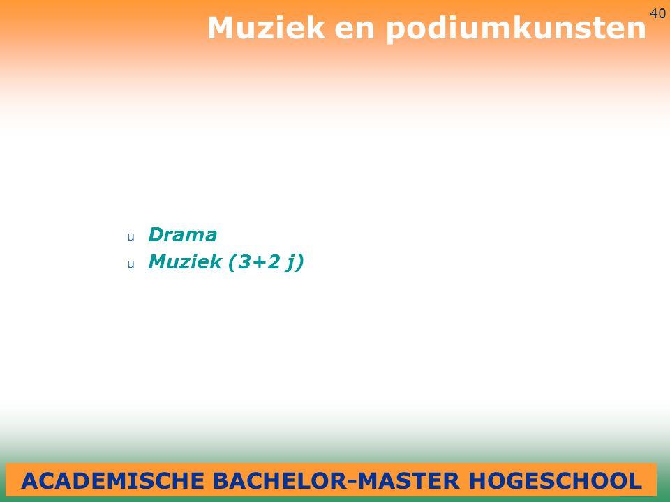 3-7-2014 40 u Drama u Muziek (3+2 j) Muziek en podiumkunsten ACADEMISCHE BACHELOR-MASTER HOGESCHOOL