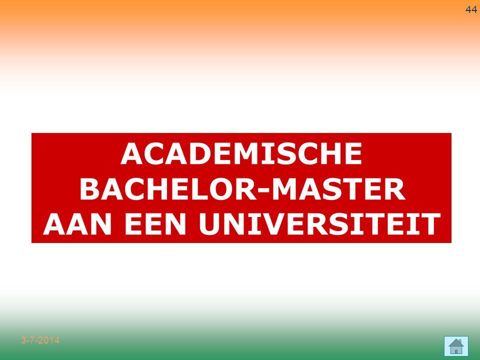3-7-2014 44 ACADEMISCHE BACHELOR-MASTER AAN EEN UNIVERSITEIT