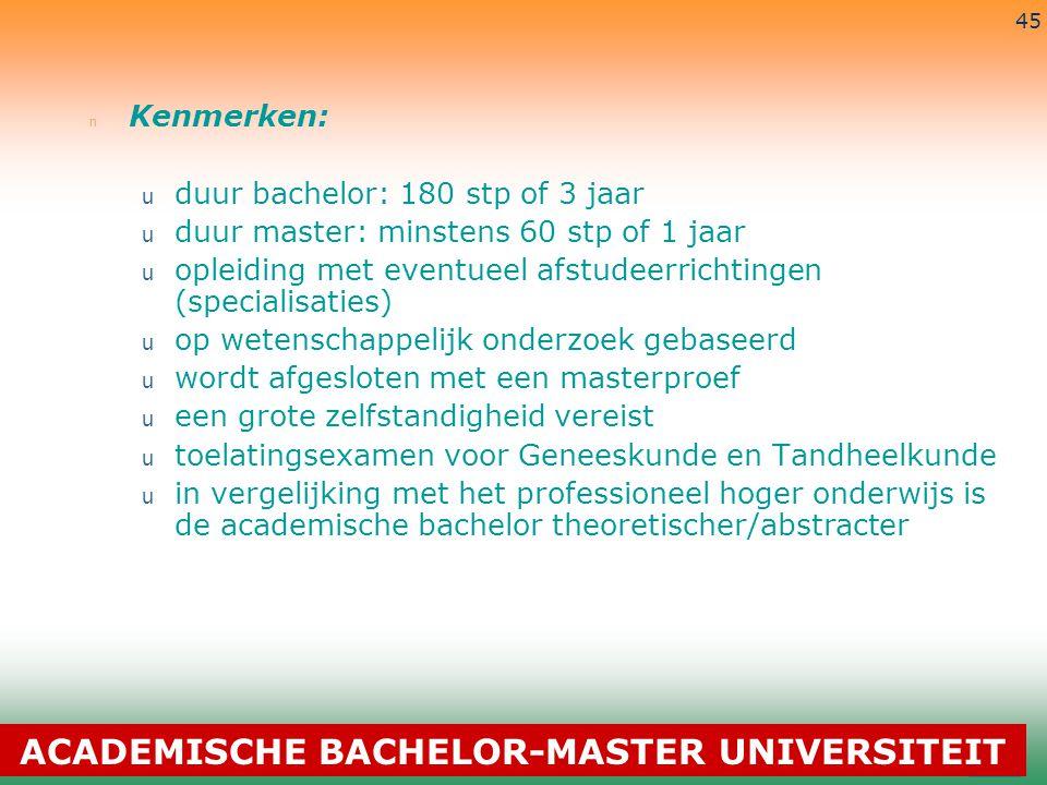 3-7-2014 45 n Kenmerken: u duur bachelor: 180 stp of 3 jaar u duur master: minstens 60 stp of 1 jaar u opleiding met eventueel afstudeerrichtingen (sp