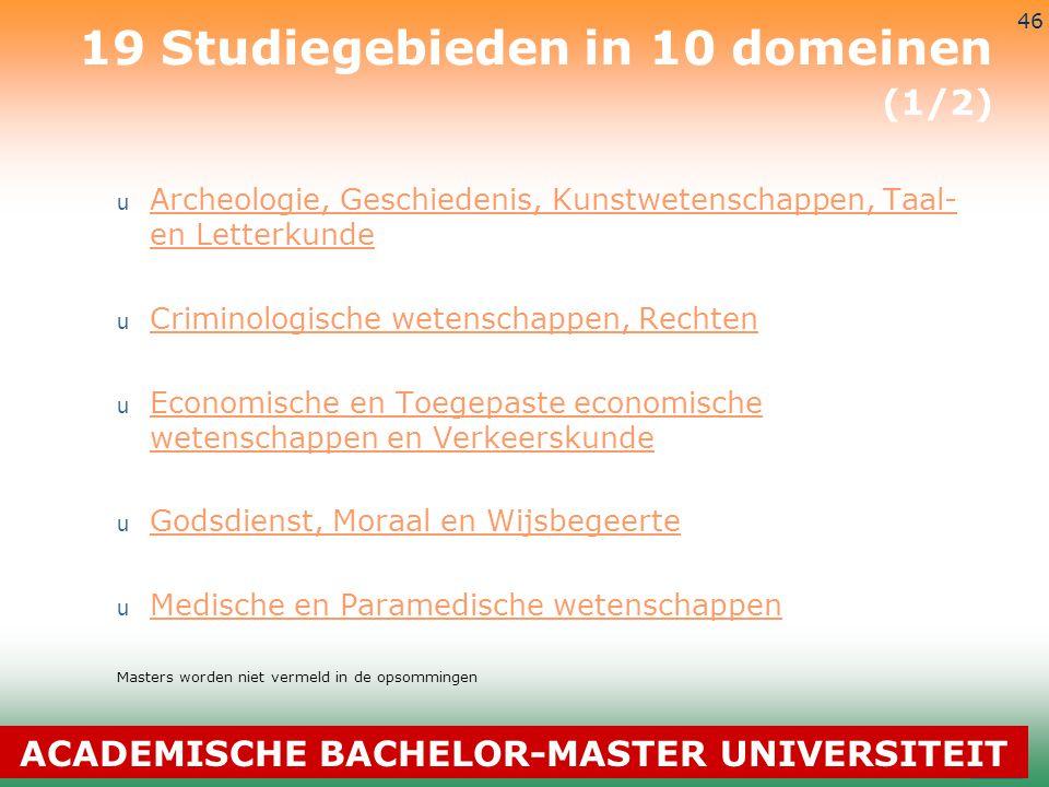 3-7-2014 46 19 Studiegebieden in 10 domeinen (1/2) u Archeologie, Geschiedenis, Kunstwetenschappen, Taal- en Letterkunde Archeologie, Geschiedenis, Ku