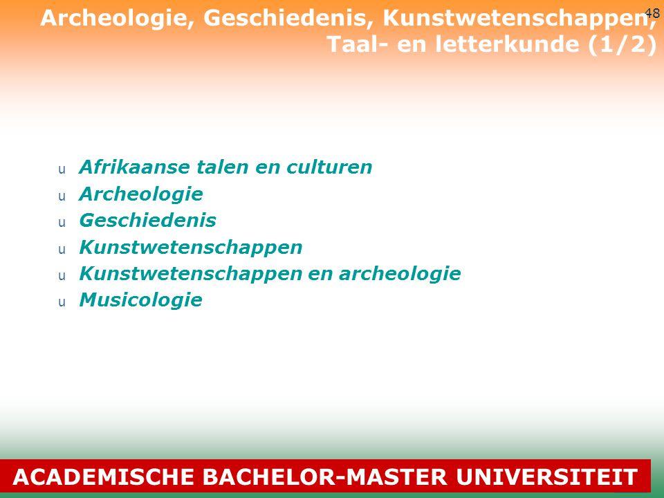 3-7-2014 48 u Afrikaanse talen en culturen u Archeologie u Geschiedenis u Kunstwetenschappen u Kunstwetenschappen en archeologie u Musicologie Archeol