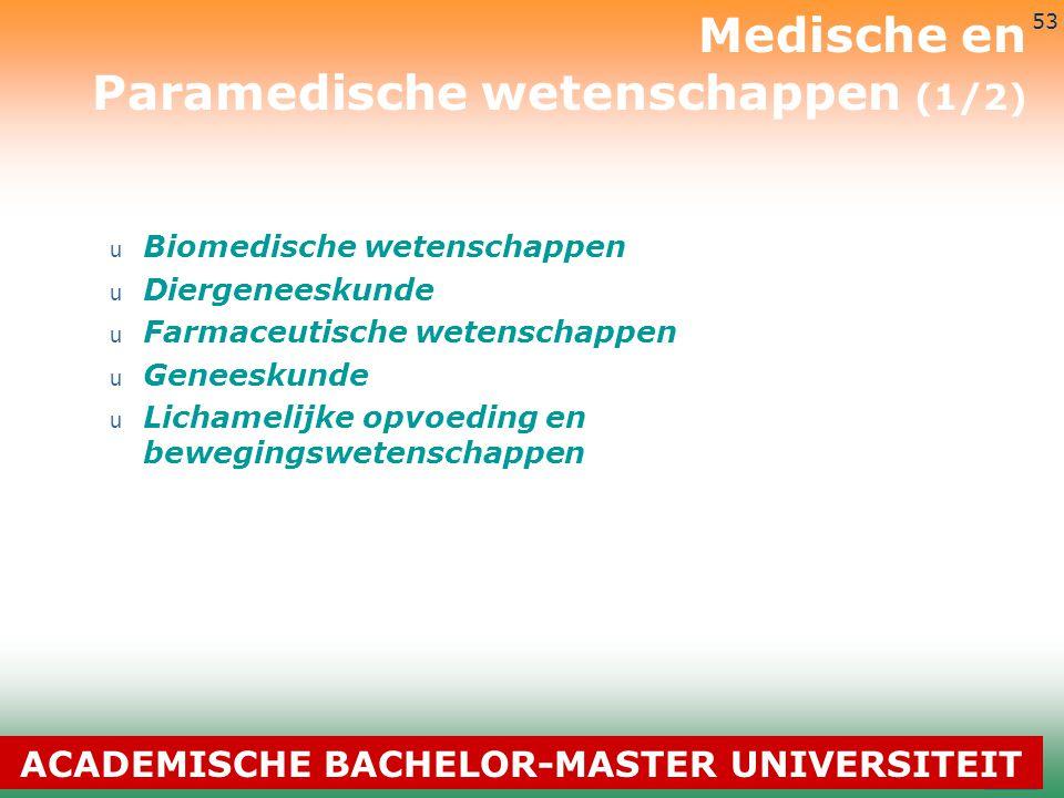 3-7-2014 53 u Biomedische wetenschappen u Diergeneeskunde u Farmaceutische wetenschappen u Geneeskunde u Lichamelijke opvoeding en bewegingswetenschap