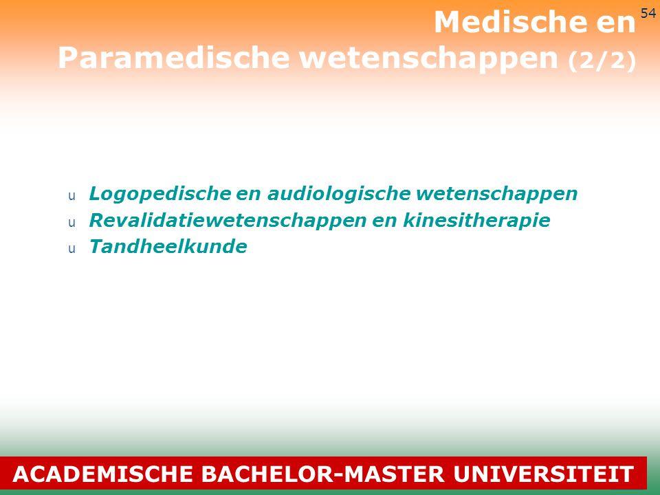 3-7-2014 54 u Logopedische en audiologische wetenschappen u Revalidatiewetenschappen en kinesitherapie u Tandheelkunde Medische en Paramedische wetens