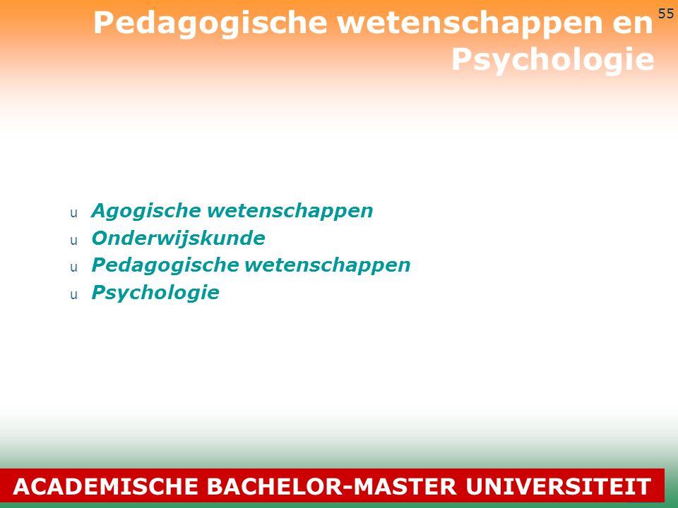 3-7-2014 55 u Agogische wetenschappen u Onderwijskunde u Pedagogische wetenschappen u Psychologie Pedagogische wetenschappen en Psychologie ACADEMISCH