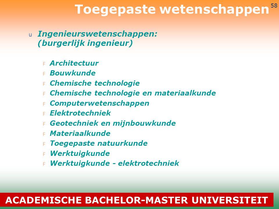3-7-2014 58 u Ingenieurswetenschappen: (burgerlijk ingenieur) F Architectuur F Bouwkunde F Chemische technologie F Chemische technologie en materiaalk