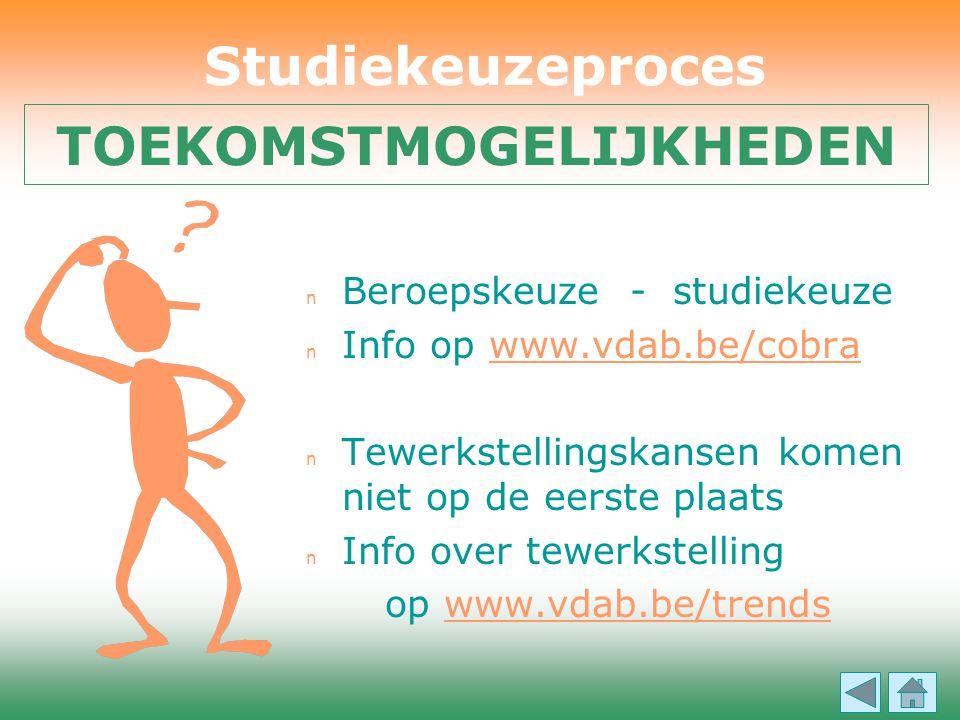 n Beroepskeuze - studiekeuze n Info op www.vdab.be/cobrawww.vdab.be/cobra n Tewerkstellingskansen komen niet op de eerste plaats n Info over tewerkste