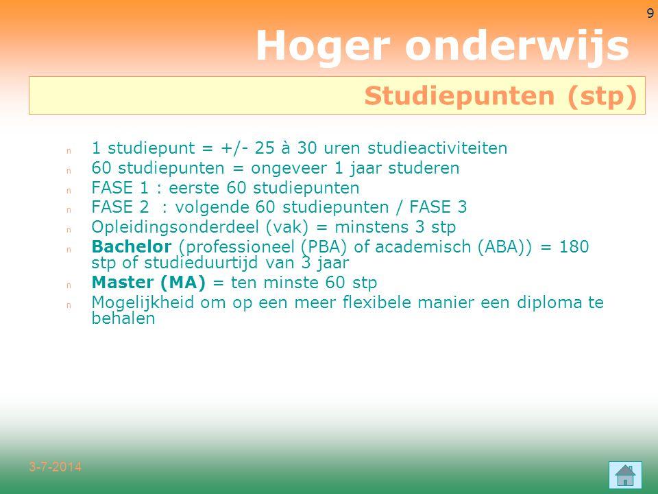 3-7-2014 9 n 1 studiepunt = +/- 25 à 30 uren studieactiviteiten n 60 studiepunten = ongeveer 1 jaar studeren n FASE 1 : eerste 60 studiepunten n FASE