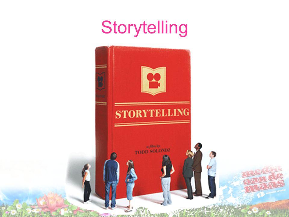 •Consumenten kopen in toenemende mate ervaringen in plaats van producten •Verhalen lenen zich goed om ervaringen over te brengen •Dat noemen we storytelling •Menig reclamespotje is tegenwoordig een mini speelfilm