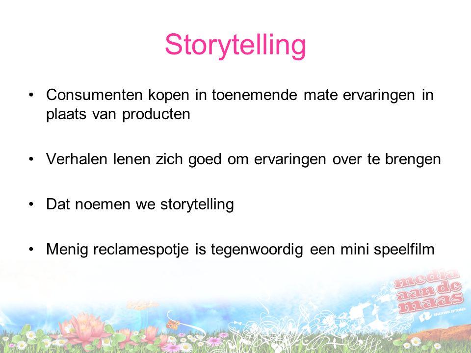 Storytelling •Mensen vertellen al eeuwenlang verhalen •Vroeger bij voorbeeld bij het kampvuur •Maar tegenwoordig hebben we veel communicatiemiddelen tot onze beschikking om verhalen te vertellen