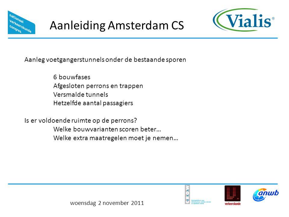 Aanleiding Amsterdam CS woensdag 2 november 2011 Aanleg voetgangerstunnels onder de bestaande sporen 6 bouwfases Afgesloten perrons en trappen Versmalde tunnels Hetzelfde aantal passagiers Is er voldoende ruimte op de perrons.