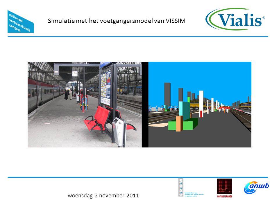 Simulatie met het voetgangersmodel van VISSIM woensdag 2 november 2011