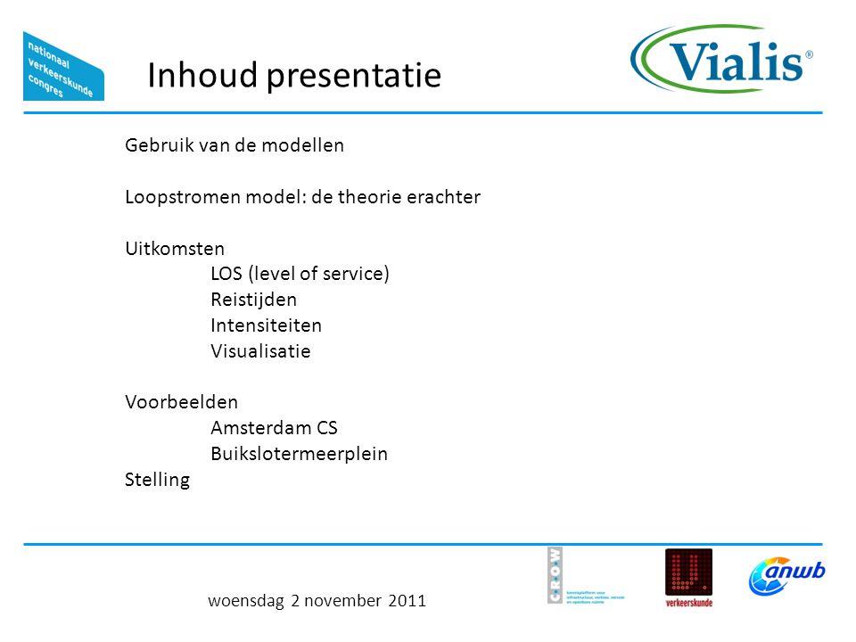 Inhoud presentatie woensdag 2 november 2011 Gebruik van de modellen Loopstromen model: de theorie erachter Uitkomsten LOS (level of service) Reistijden Intensiteiten Visualisatie Voorbeelden Amsterdam CS Buikslotermeerplein Stelling
