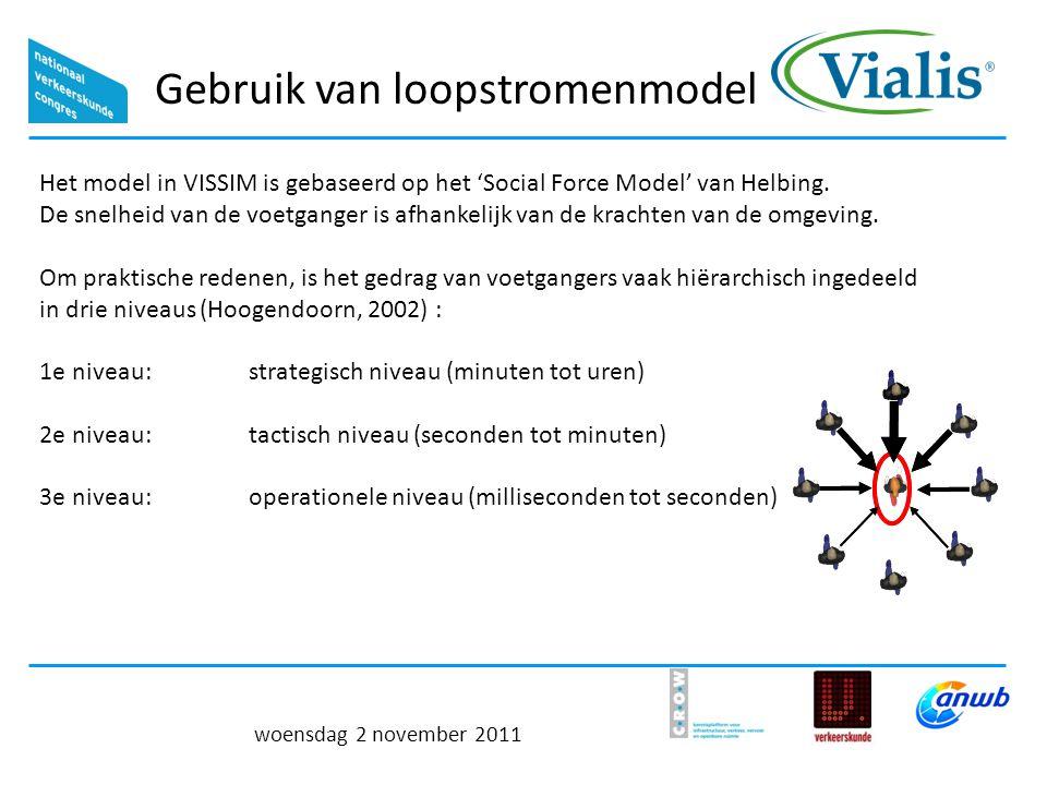 Gebruik van loopstromenmodel woensdag 2 november 2011 Het model in VISSIM is gebaseerd op het 'Social Force Model' van Helbing.