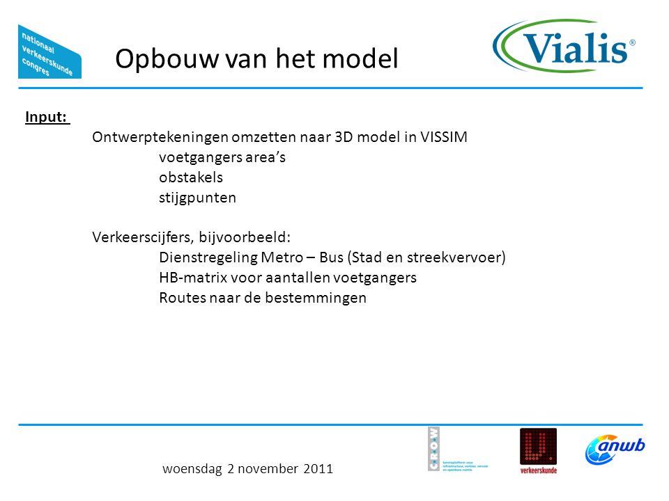 Opbouw van het model woensdag 2 november 2011 Input: Ontwerptekeningen omzetten naar 3D model in VISSIM voetgangers area's obstakels stijgpunten Verkeerscijfers, bijvoorbeeld: Dienstregeling Metro – Bus (Stad en streekvervoer) HB-matrix voor aantallen voetgangers Routes naar de bestemmingen