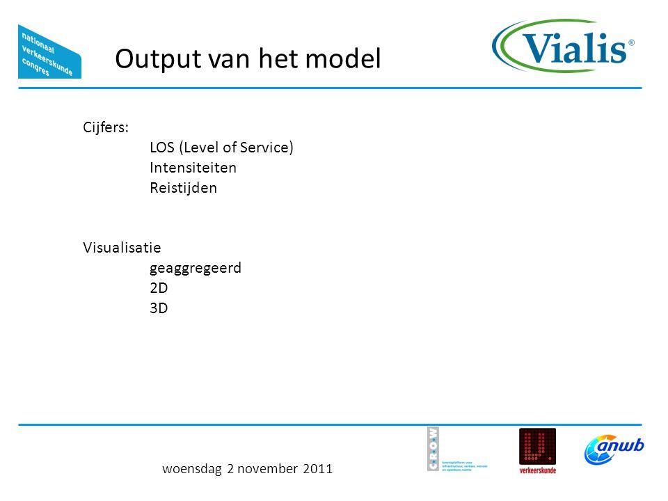 Output van het model woensdag 2 november 2011 Cijfers: LOS (Level of Service) Intensiteiten Reistijden Visualisatie geaggregeerd 2D 3D