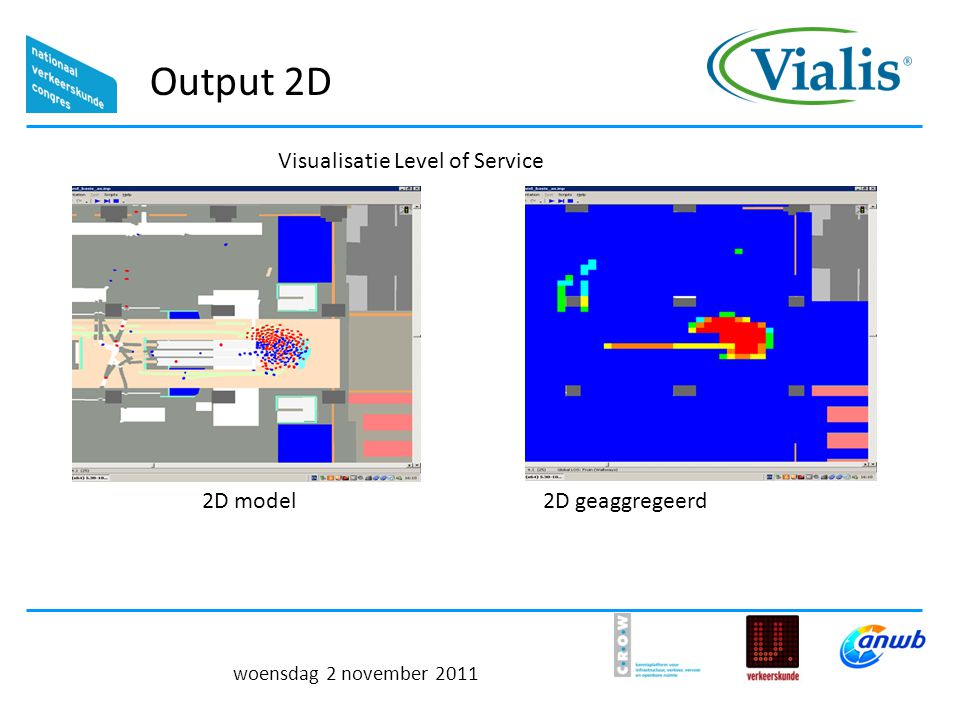 Visualisatie Level of Service woensdag 2 november 2011 Output 2D 2D model2D geaggregeerd