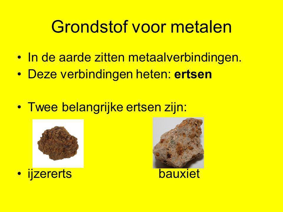Grondstof voor metalen •In de aarde zitten metaalverbindingen. •Deze verbindingen heten: ertsen •Twee belangrijke ertsen zijn: •ijzererts bauxiet