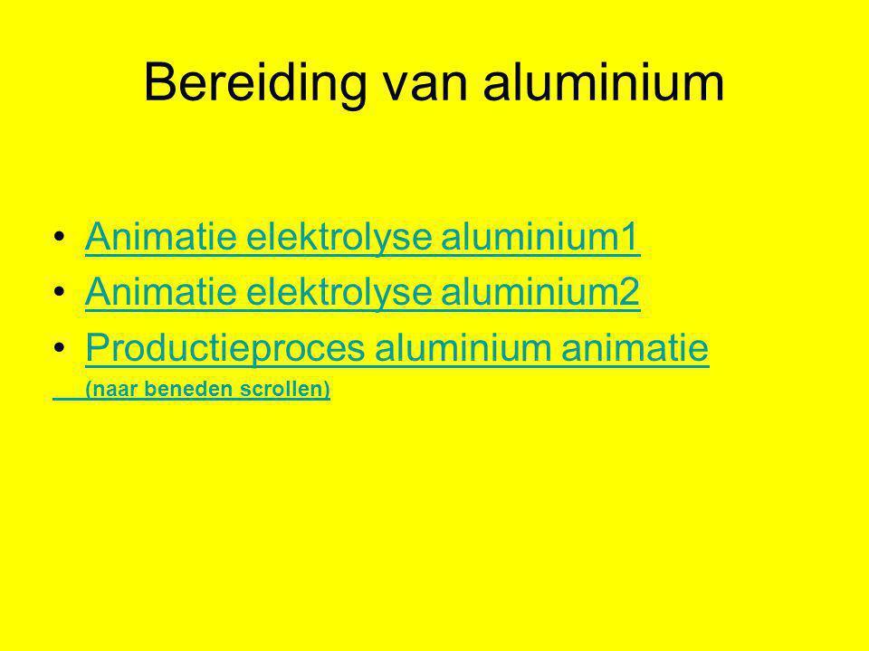 Bereiding van aluminium •Animatie elektrolyse aluminium1Animatie elektrolyse aluminium1 •Animatie elektrolyse aluminium2Animatie elektrolyse aluminium