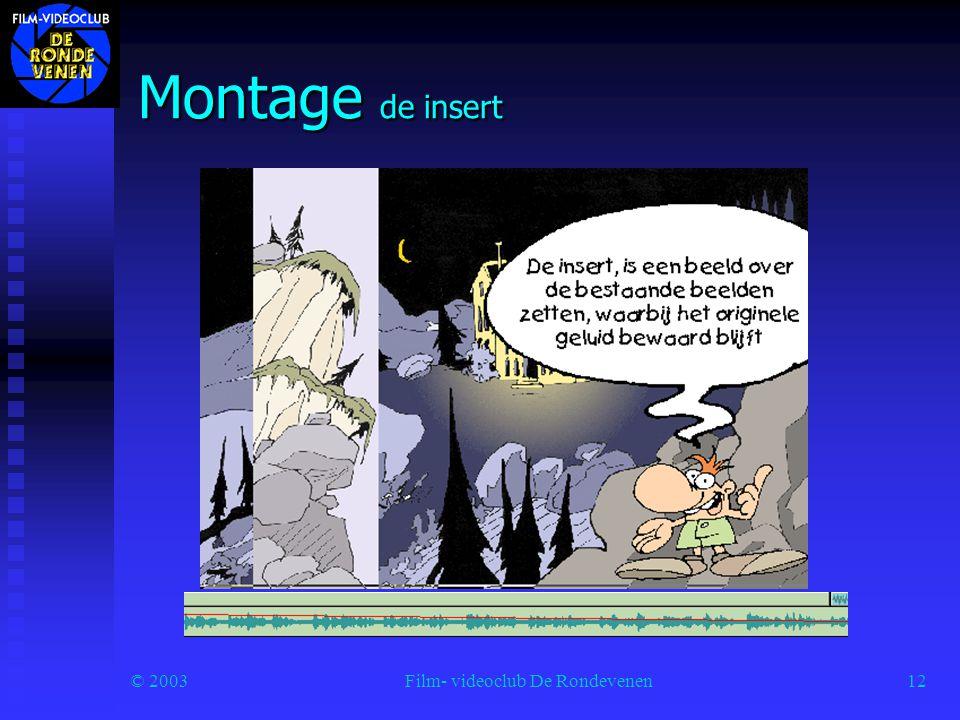 © 2003Film- videoclub De Rondevenen12 Montage de insert