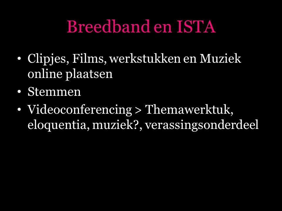 Breedband en ISTA • Clipjes, Films, werkstukken en Muziek online plaatsen • Stemmen • Videoconferencing > Themawerktuk, eloquentia, muziek , verassingsonderdeel