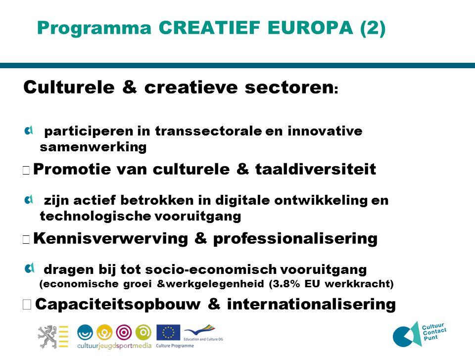 Programma CREATIEF EUROPA (2) Culturele & creatieve sectoren : participeren in transsectorale en innovative samenwerking  Promotie van culturele & taaldiversiteit zijn actief betrokken in digitale ontwikkeling en technologische vooruitgang  Kennisverwerving & professionalisering dragen bij tot socio-economisch vooruitgang (economische groei &werkgelegenheid (3.8% EU werkkracht)  Capaciteitsopbouw & internationalisering
