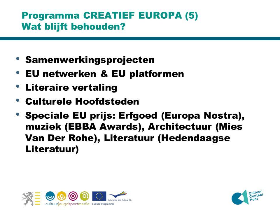 Programma CREATIEF EUROPA (5) Wat blijft behouden? • Samenwerkingsprojecten • EU netwerken & EU platformen • Literaire vertaling • Culturele Hoofdsted
