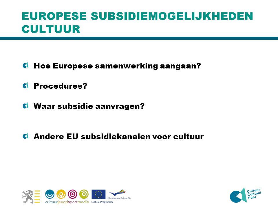 2 EUROPESE SUBSIDIEMOGELIJKHEDEN CULTUUR Hoe Europese samenwerking aangaan? Procedures? Waar subsidie aanvragen? Andere EU subsidiekanalen voor cultuu