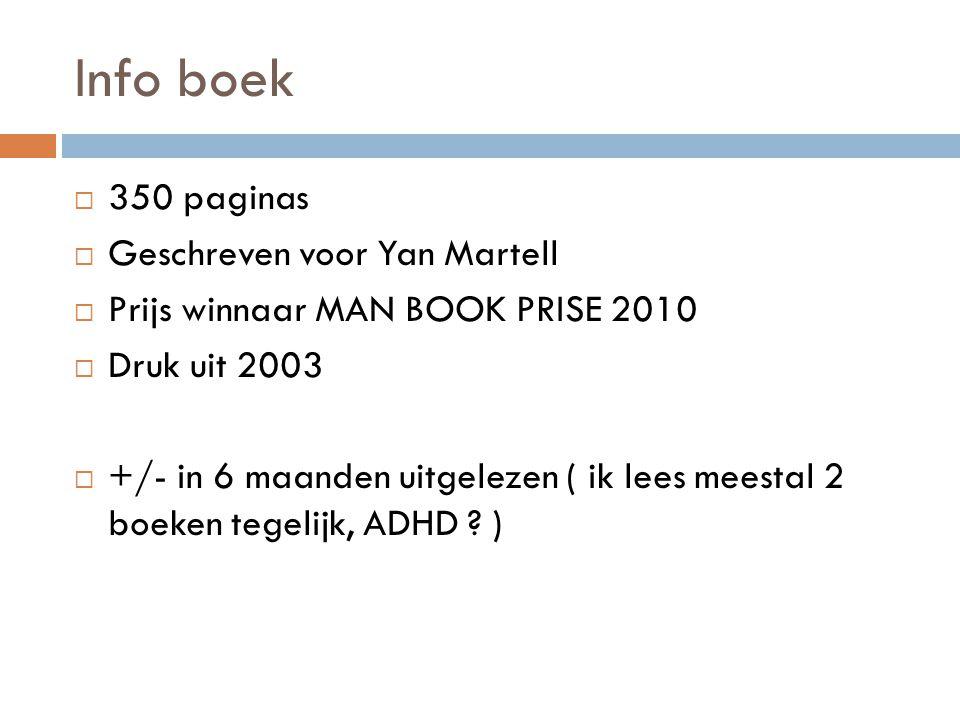 Info boek  350 paginas  Geschreven voor Yan Martell  Prijs winnaar MAN BOOK PRISE 2010  Druk uit 2003  +/- in 6 maanden uitgelezen ( ik lees mees