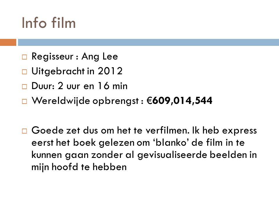 Info film  Regisseur : Ang Lee  Uitgebracht in 2012  Duur: 2 uur en 16 min  Wereldwijde opbrengst : €609,014,544  Goede zet dus om het te verfilm
