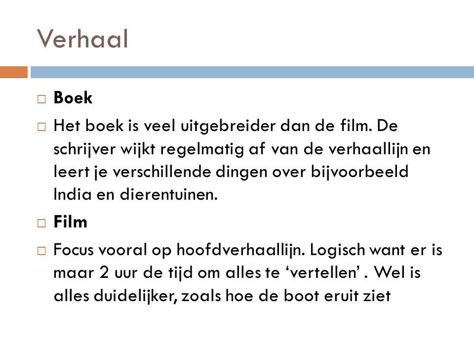 Verhaal  Boek  Het boek is veel uitgebreider dan de film. De schrijver wijkt regelmatig af van de verhaallijn en leert je verschillende dingen over