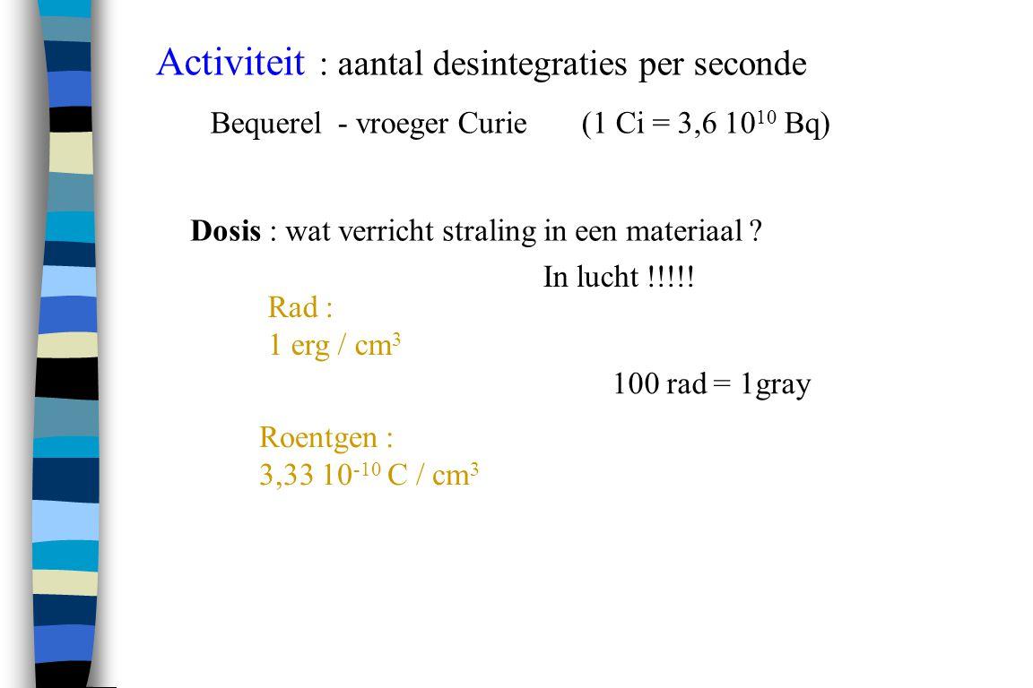 rem 100 rem = sievert Detectoren : film / TLD Dosisequivalent : wat verricht straling in een mens .