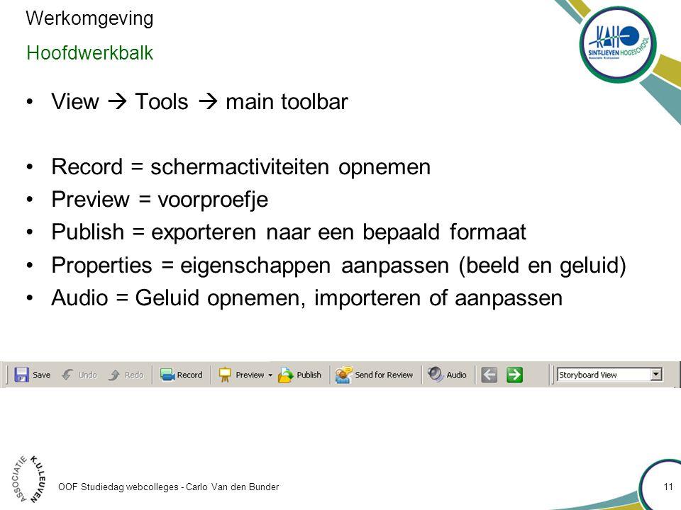 OOF Studiedag webcolleges - Carlo Van den Bunder Hoofdwerkbalk •View  Tools  main toolbar •Record = schermactiviteiten opnemen •Preview = voorproefje •Publish = exporteren naar een bepaald formaat •Properties = eigenschappen aanpassen (beeld en geluid) •Audio = Geluid opnemen, importeren of aanpassen Werkomgeving 11