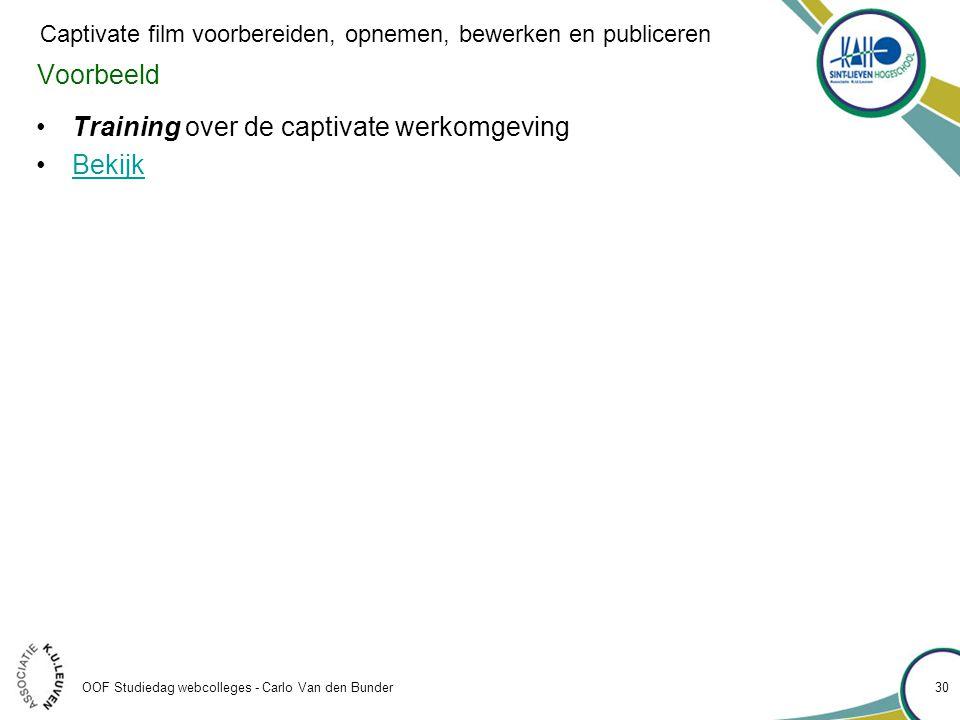 Voorbeeld •Training over de captivate werkomgeving •BekijkBekijk OOF Studiedag webcolleges - Carlo Van den Bunder 30 Captivate film voorbereiden, opnemen, bewerken en publiceren
