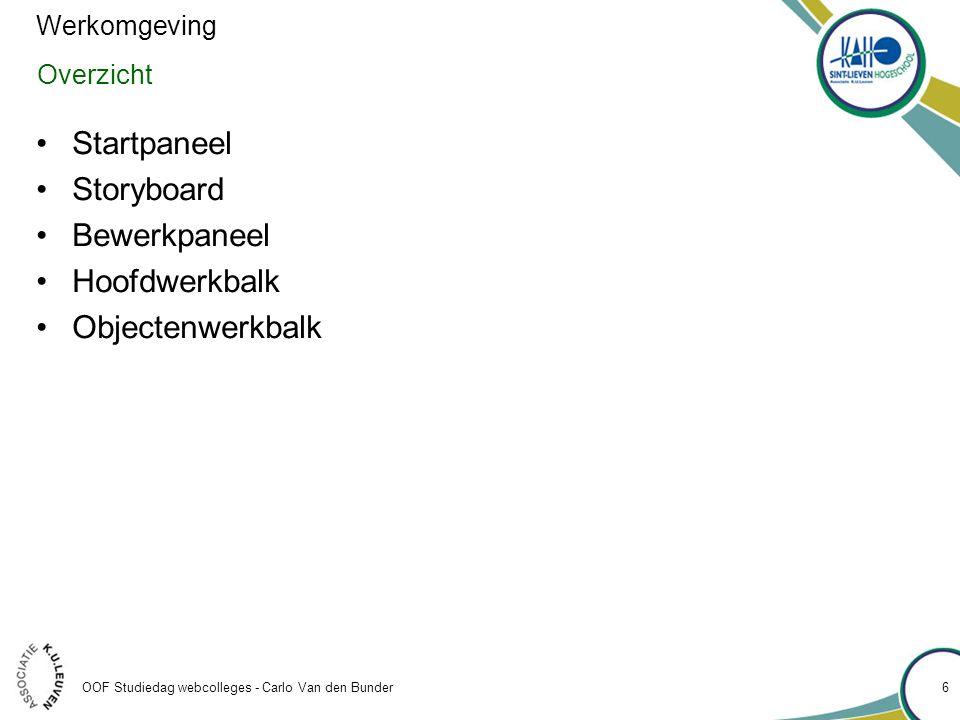 OOF Studiedag webcolleges - Carlo Van den Bunder Object toevoegen •Objecten die kunnen toegevoegd worden •Interactieve objecten –Click boxes –Text entry boxes –Buttons –Widgets •non-interactieve objecten –Text captions –Rollover captions –Highlight boxes –Mouse –Rollover slidelets 37 Slides en objecten • Zoom areas • Images and rollover images • Drawing tools • Animations • Animated text • Video