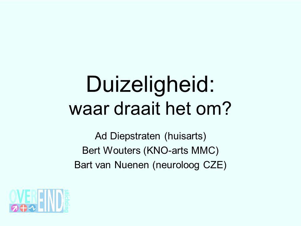 Duizeligheid: waar draait het om? Ad Diepstraten (huisarts) Bert Wouters (KNO-arts MMC) Bart van Nuenen (neuroloog CZE)