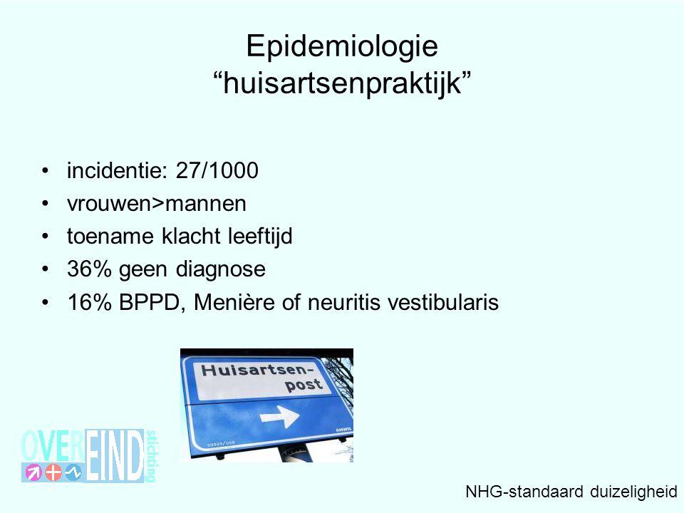 """Epidemiologie """"huisartsenpraktijk"""" •incidentie: 27/1000 •vrouwen>mannen •toename klacht leeftijd •36% geen diagnose •16% BPPD, Menière of neuritis ves"""
