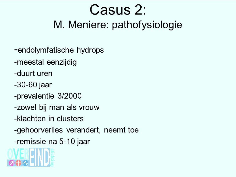 Casus 2: M. Meniere: pathofysiologie - endolymfatische hydrops -meestal eenzijdig -duurt uren -30-60 jaar -prevalentie 3/2000 -zowel bij man als vrouw